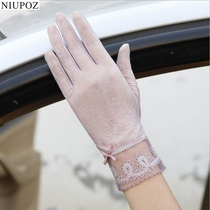 Sexy Spring Summer Women Autumn UV Sunscreen Short  Sun Gloves Fashion Ice Silk Lace Driving Of Thin Touch Screen Gloves G06E