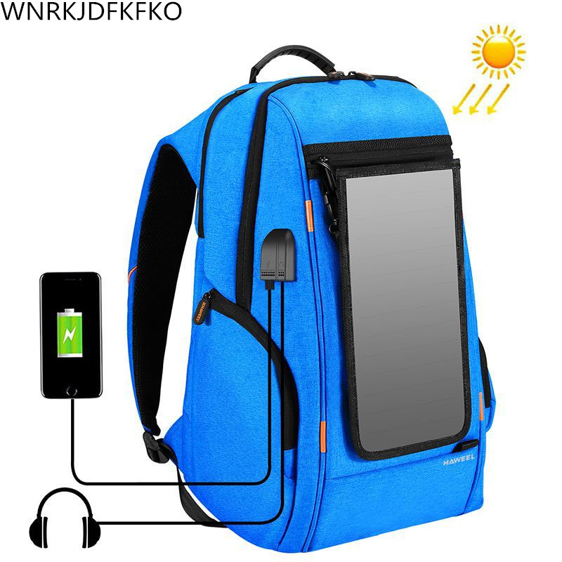 Männer Solar Rucksack Wasserdicht Große Kapazität 17 zoll <font><b>usb</b></font>-schnittstelle Lade Laptop Rucksack Outdoor Travel Business Rucksack image