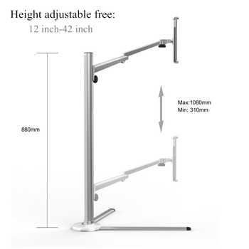 """Tablet Floor Stand for Bed Sofa Height Adjustable Cell Phone Tablets Holder Arm Rotation for iPhone iPad Air Mini iPad Pro 12.9\"""""""