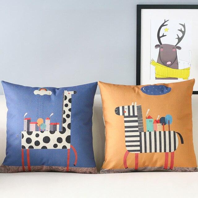 Cartoon Pillow SModern Zebra Giraffe Pillow Cushion Children's New Children's Decorative Pillows