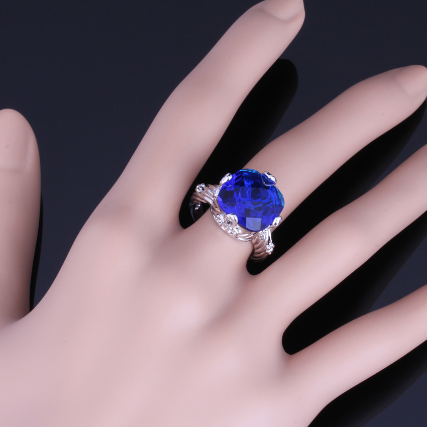 Gorgeous Big Square Blue Cubic Zirconia 925 Sterling Silver Ring For Women V0153 in Rings from Jewelry Accessories