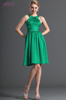 Green Cheap Bridesmaid Dresses Under 50 A-line Halter Chiffon Knee Length Backless Wedding Party Dresses