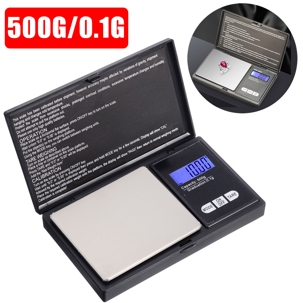 Mini Electronic Pocket Scale 500x0.1g Micro Pocket Digital Jewelry Tea Spice Grams Weighing Pans Scale With User Manual