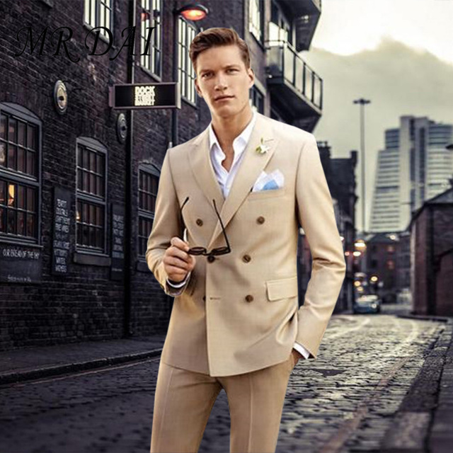 2018Latest Coat Pant Designs khaki double-breasted peaked lapel tuxedos slim fit suit for wedding business street jacket+pants