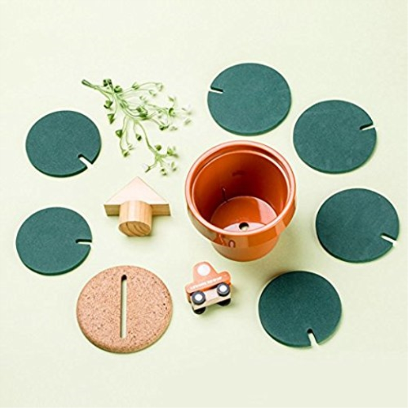 Cactus Heat Mat DIY Coasters Set of 6 in HolderProtect Furniture From Water Marks Creative Artificial For Home Office Decoration