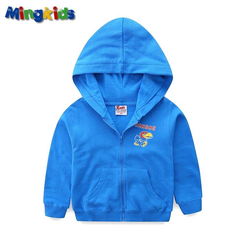 Mingkids meninos hoodie com capuz com zíper camisola jumper 4-8 anos jaqueta de otton para a primavera do outono