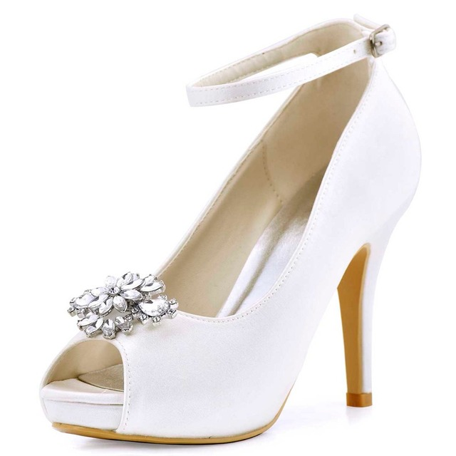 8c4b506eb3f02 HP1543IAK Shoes Women High Heels Ankle Strap Platform Ivory White Pumps  Satin Bride Bridesmaids Evening Party Wedding Shoes