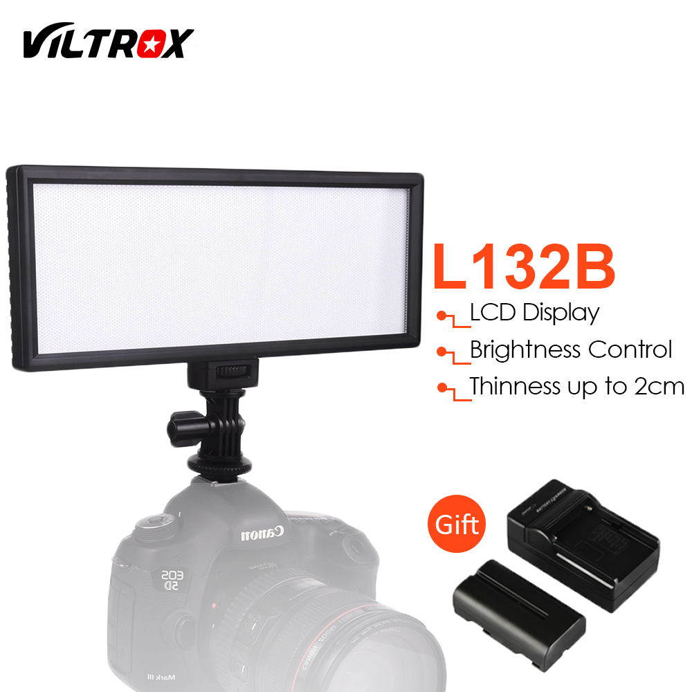 Viltrox L132B LCD Display Dimmable Slim DSLR Photo Studio LED Video Light +Battery +Charger for Canon Nikon Camera DV Camcorder