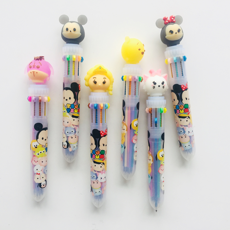 1X Silicone Mickey Animal Head 10 Color Press Ballpoint Pen Office School Office Supply Pens Drawing Pen Kids Stationery