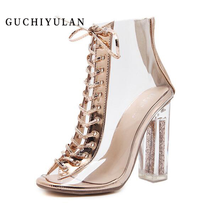 GUCHIYULAN 12CM Extreme clear Heels Sandals Summer Woman Sexy Gold Pumps wedge platform Shoes Gladiator Sandalias Feminina hee grand gold silver high heels 2017 summer gladiator sandals sexy platform shoes woman casual shoes size 35 43 xwz4075