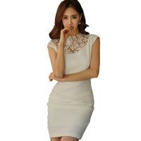 Spring Summer Women White Dress OL Ladies Sexy Crochet Lace Patchwork Ruched Bodycon Brief Dress Elegant Party Wear Short Dress