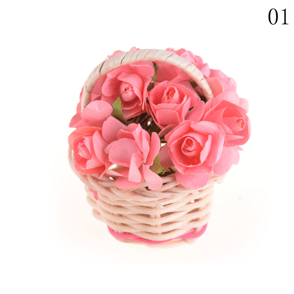 1pc 4colors Lily Rose Flower Miniature Plant Basket For Dollhouse