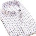 Camisas Oxford Resistente A Las Arrugas de los hombres Vestido de Slim Fit Button-Down Largo Tamaño S-4XL Camisa Marca de Moda de Los Hombres Camisa de manga Homme