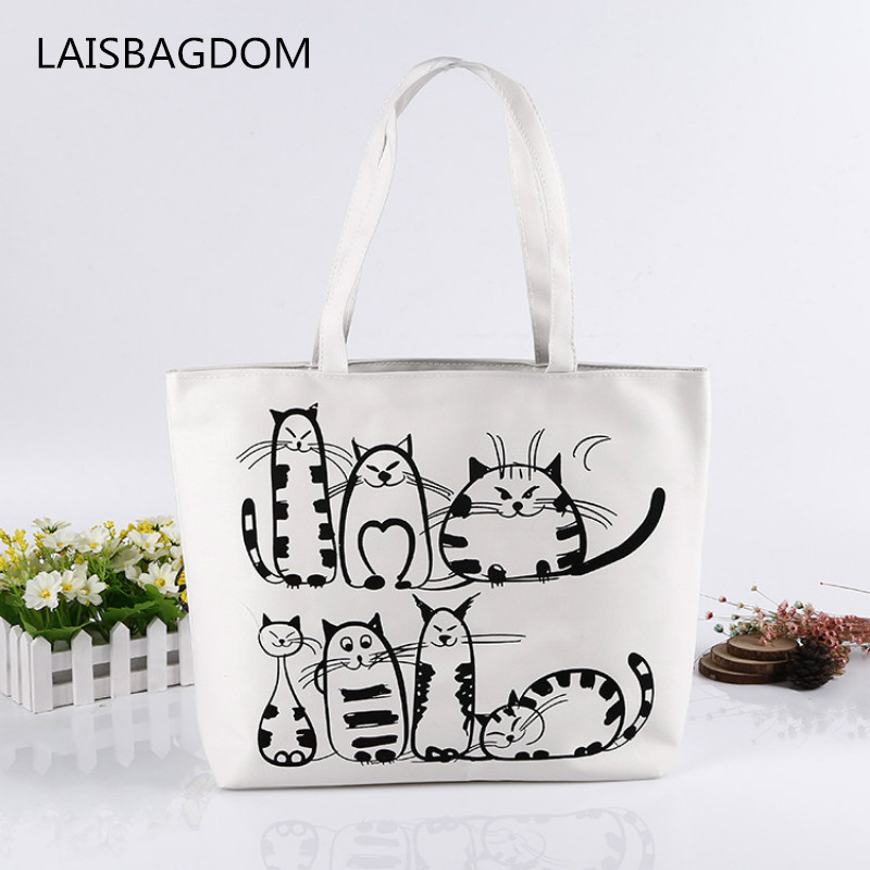 Summer Canvas Women Beach Bag Fashion Cartoon Cats Printed Women Handbags Canvas Lady Shoulder Bags Casual Tote Shopping Bags