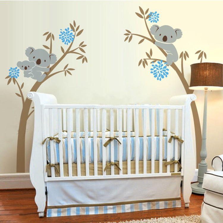 Oversize koala bear vinyl wall decal tree sticker for baby for Vinilo para habitacion de bebe