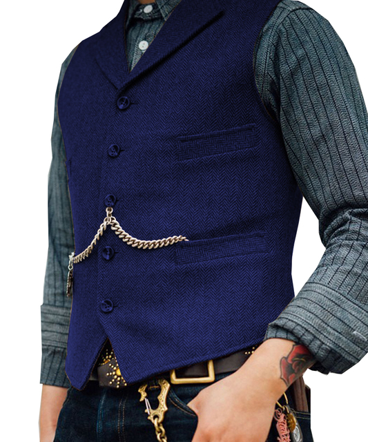 Men's Suit Vest Boutique Wool Tweed Slim Fit Leisure Cotton Male Gentleman Beckham Business Waistcoat For Wedding Groomsmen 5