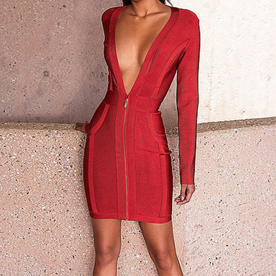2017 Newest Winter Bandage Dress Women Celebrity Party Long Sleeve Deep V-Neck Sexy Night Out Dress Women Bodycon Vestidos