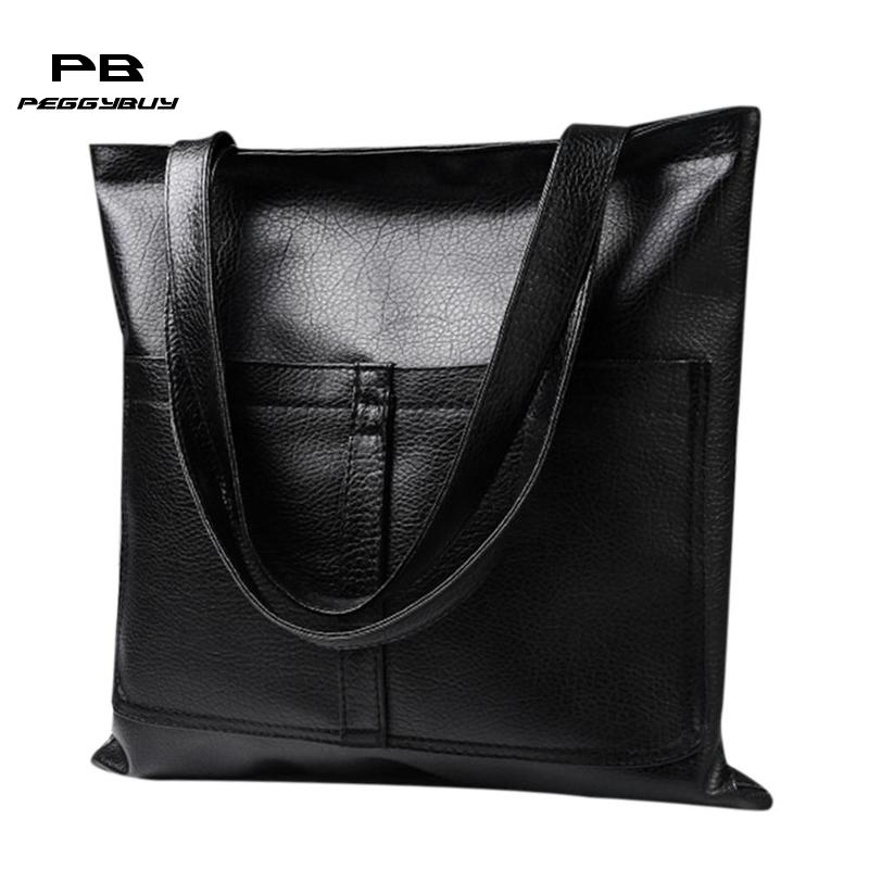 Ladies Simple PU Leather Shoulder Handbag Women Luxury Fashion Designer Portable Clutch Bags Big Capacity Casual Shopping Totes