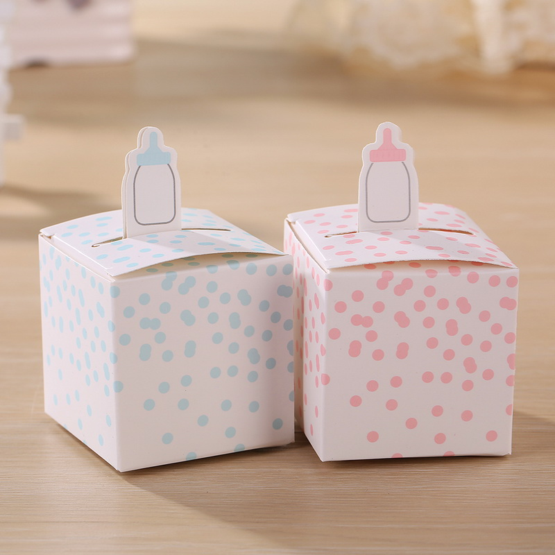 Classic Baby Bottle Favor Box Candy Gift Boxes For Baby Shower Party Favors 100pcs