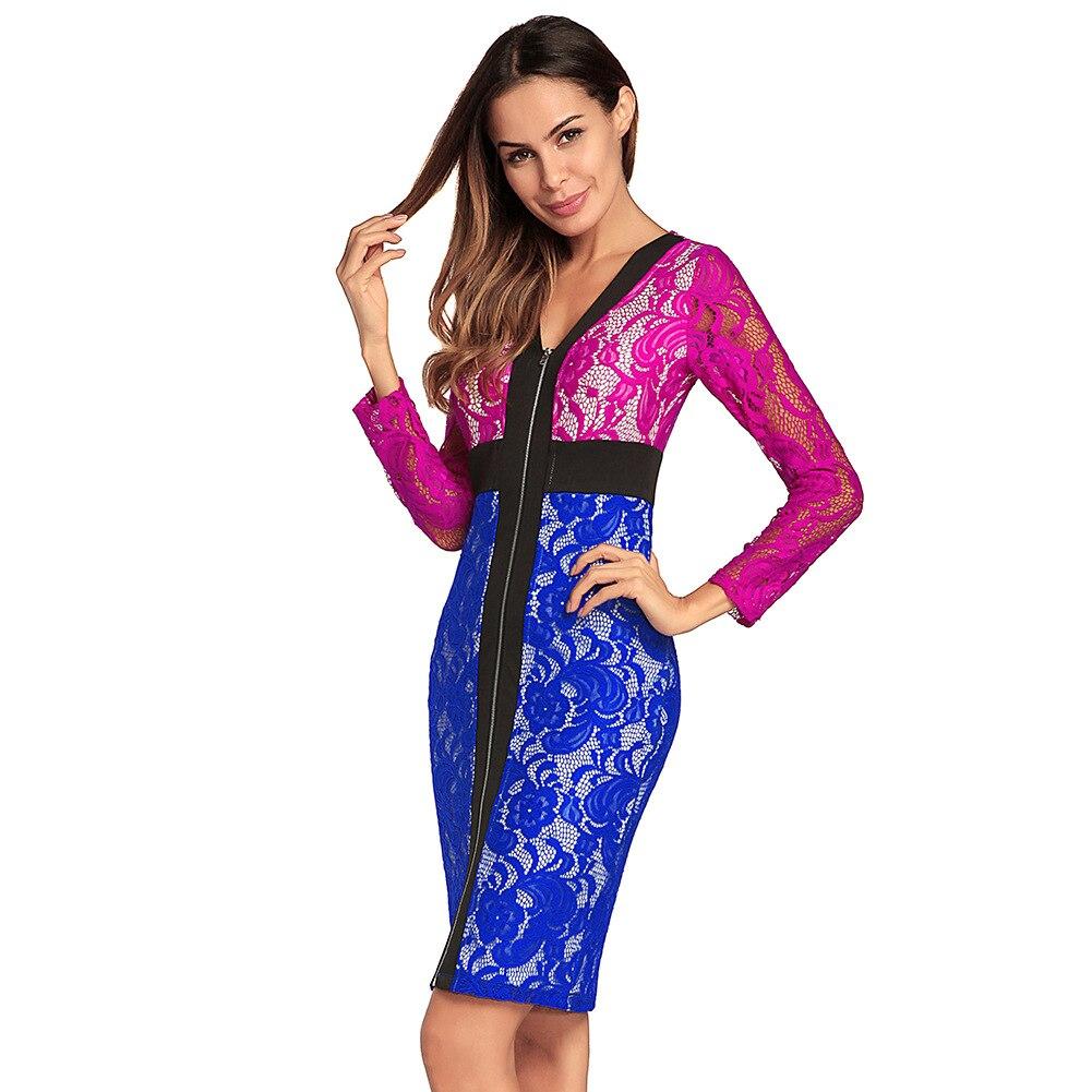 2018 otoño verano Euramerica contraste Patchwork mujer impacto mangas largas Sexy un paso cuello en V encaje cadera lápiz empaquetado vestido
