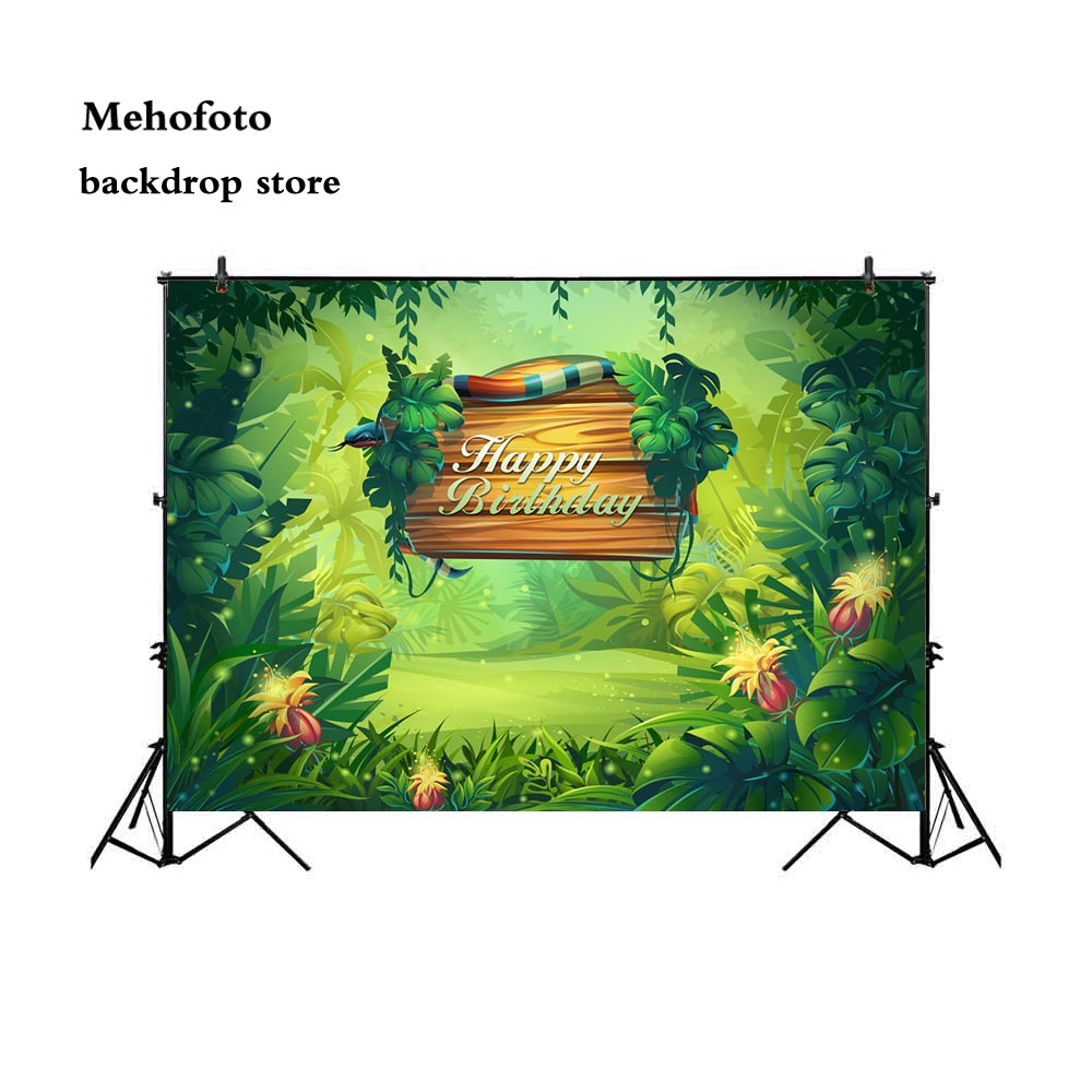Mehofoto Jungle Backdrop for Photography Birthday Theme Photo Party Backgrounds Shoot for Family Photographers Studio Fairy 714