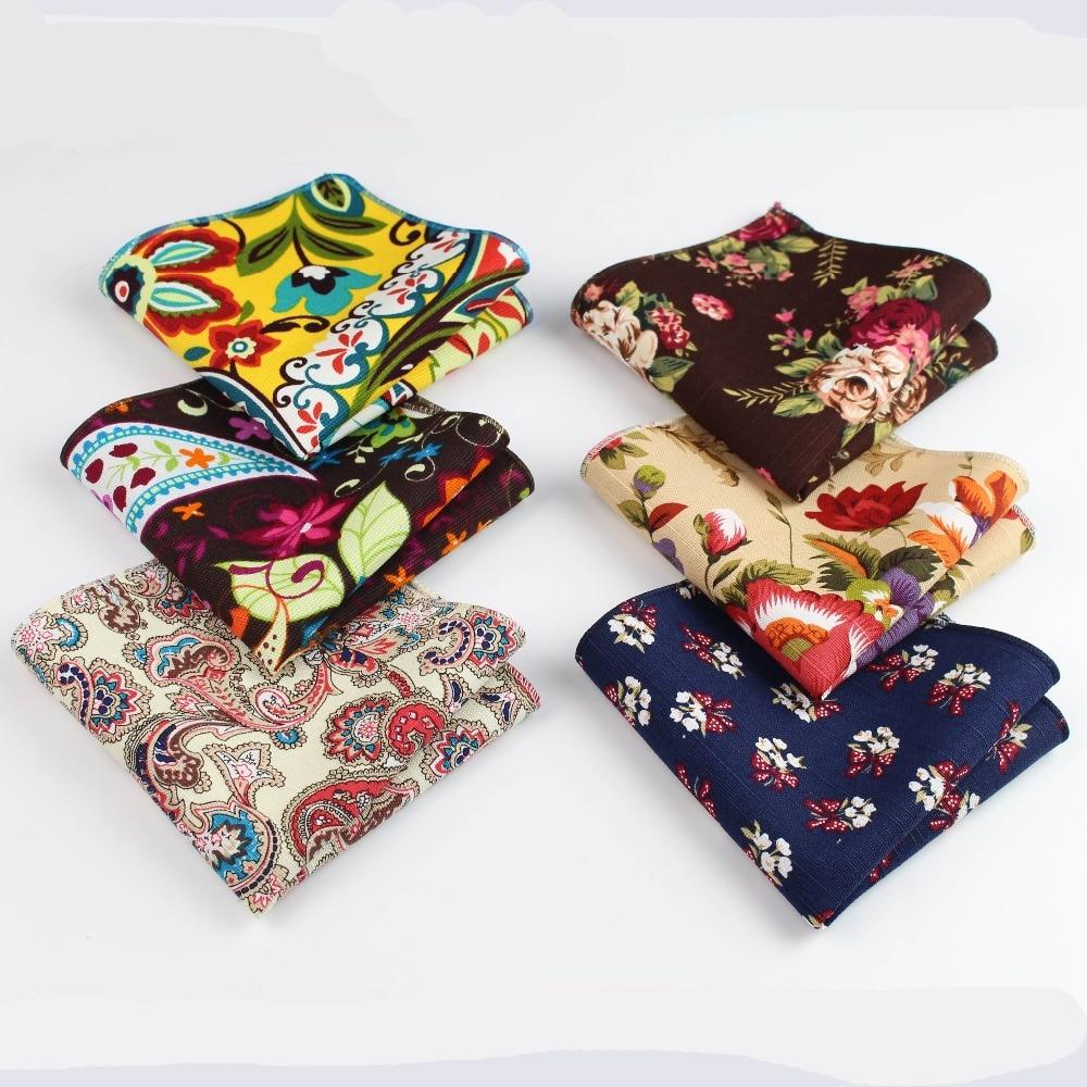Flower Handkerchief Scarves Vintage Linen Paisley Hankies Men's Pocket Square Handkerchiefs 22*22cm