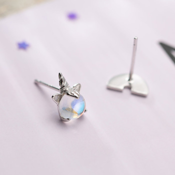 Silver Cute Rainbow Unicorn Stud Earrings