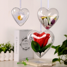 Hot Flower Preservation Container Transparent Plastic Hollow Heart Shape Ball bottle Candy Box font b Christmas