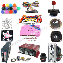 цена на Pandora Box 6 1300 Games Set DIY Arcade Kit Push Buuttons Joysticks Arcade Machine 2 Joysticks Bundle Home Cabinet