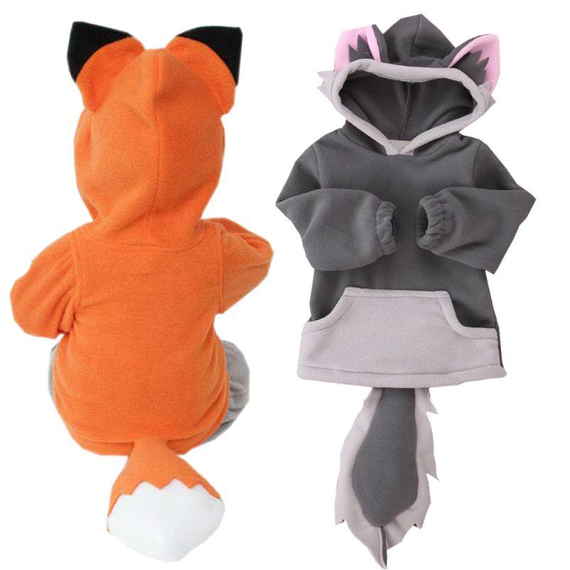 Милые осень-зима ребенок мультфильм Дизайн Fox Baby с капюшоном для мальчиков куртка для девочек верхняя одежда Пальто для будущих мам малыш по...
