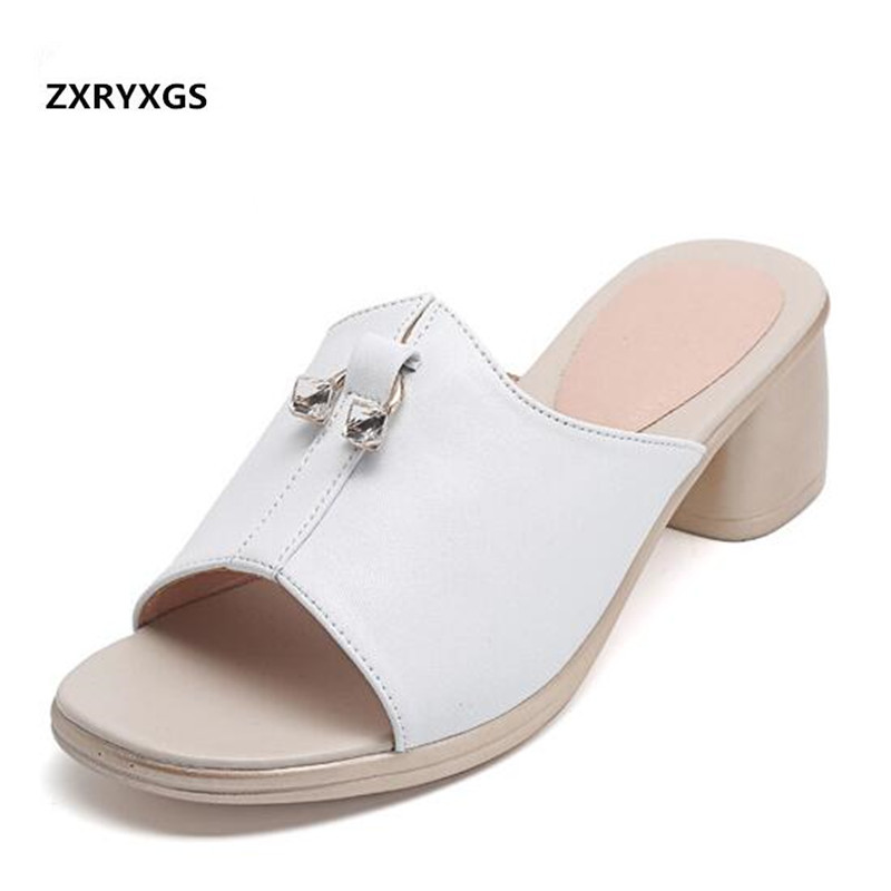 2019 New Cowhide Rhinestone Open Shoes Woman Summer Sandals Slippers Thick Heel Large Size Summer Leather