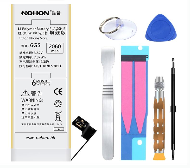 imágenes para Originales NOHON Marca Reemplazo Bateria 2060 mAh Alta Capacidad de la Batería Interna de Litio con Herramientas Para El Iphone 6 S 6GS