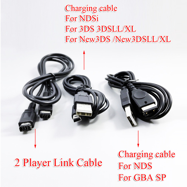 ChengHaoRanBlack Cable USB de 1M para Nintendo Game Cube, Cable para NGS GS 2DS NDSi 3DS 3DSLL/XL new3DS new3DSLL/XL GBA SP NDS