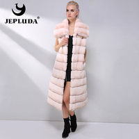 JEPLUDA Fashion Long Natural Rex Rabbit Fur Vest New Style Dual use Collar Winter Real Fur Coat Women Fur Jacket Real Fur Vest