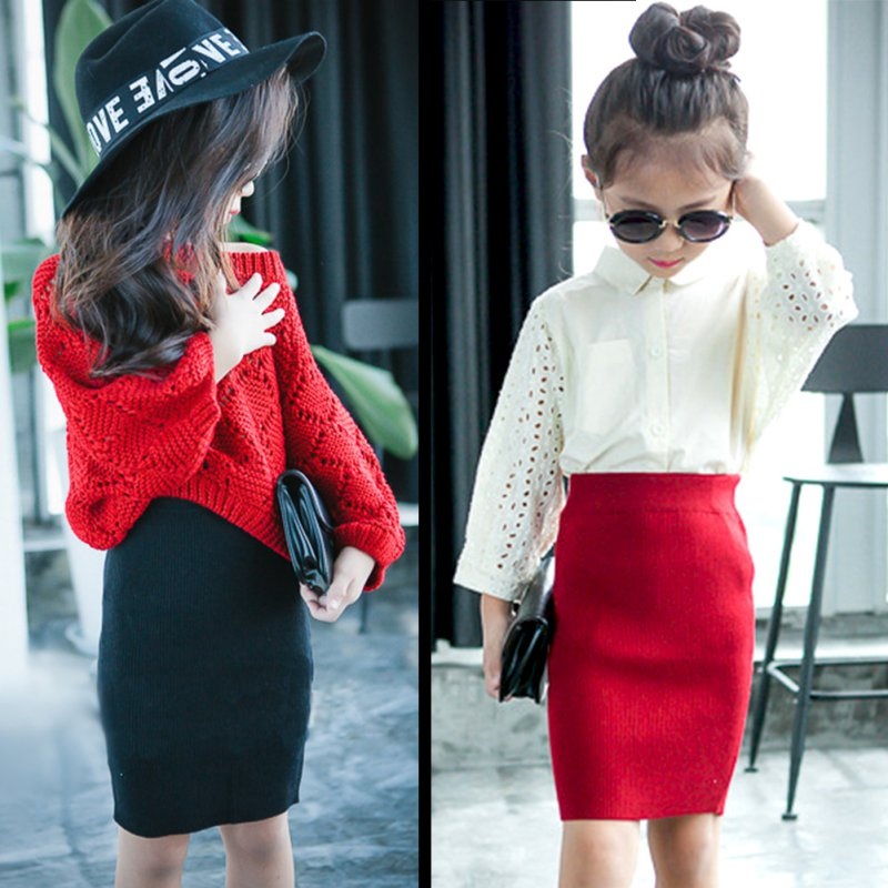 New Girls Kids Elastic Waist Skirts Solid Autumn A Line Skater Knit Mini Skirt