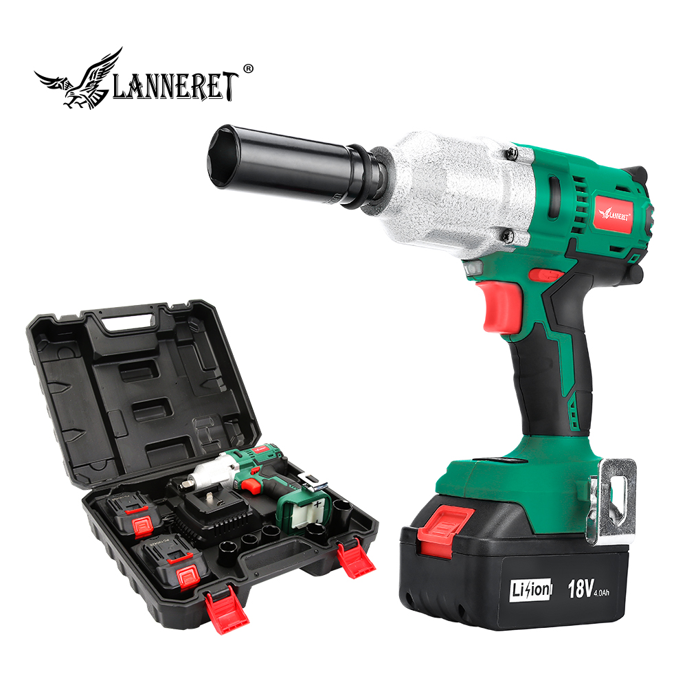 LANNERET 18V Brushless Cordless Impact Electric Wrench  300-600N.m Torque Household Car/SUV Wheel 1/2 Socket Wrench Power ToolLANNERET 18V Brushless Cordless Impact Electric Wrench  300-600N.m Torque Household Car/SUV Wheel 1/2 Socket Wrench Power Tool