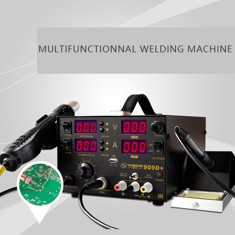 YAOGONG New Long Life 909D+ 3 In 1 With DC Power Supply Hot Air SMD Soldering Iron Rework Station