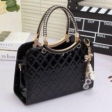 AFKOMST женская сумка с подвесным орнаментом, элегантный черный жесткий дизайн, топ ручка, регулируемый ремень, сумка на плечо, качество VK1001L