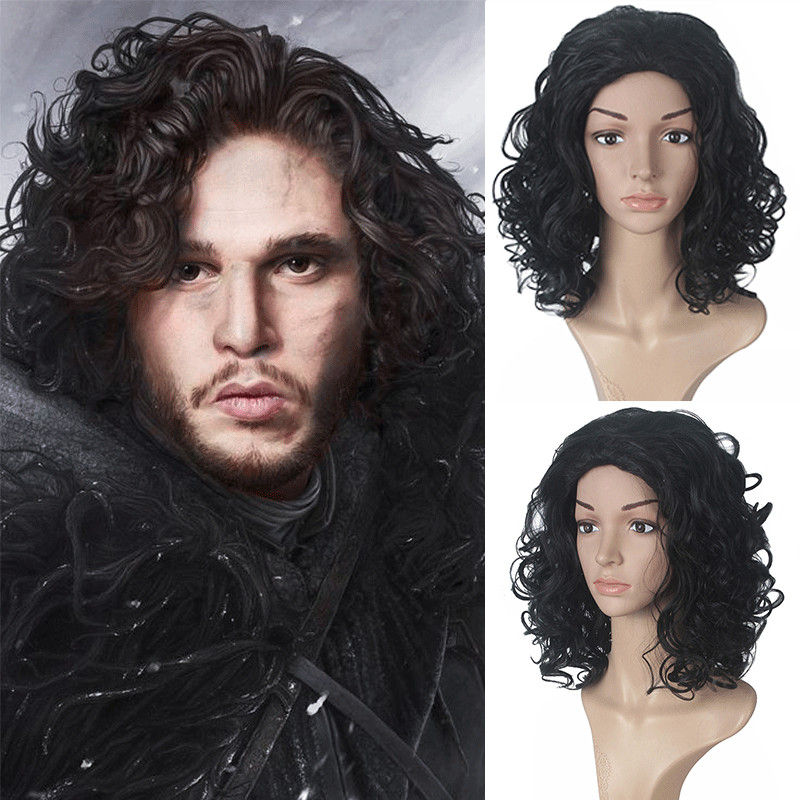 2019 Hot Movie Game of Thrones Jon Snow Wig Cosplay Accessories Wig A Song of Ice and Fire Night's Watch Black short Hair Wig
