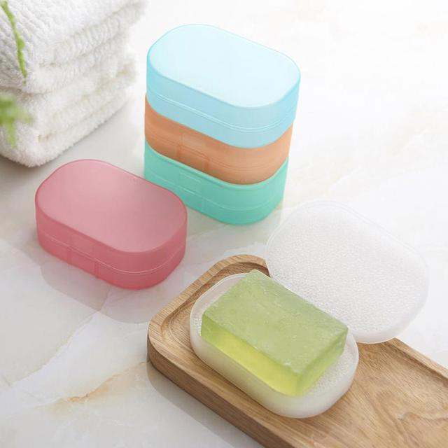 Fashion Rectangle Sponge Soap Dish Box Case Holder Container Home Shower Travel Camping Bathroom Accessories 5colors