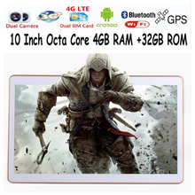 Shipping free 10 inch Octa Core 3G 4G phone tablet MTK8752 Android 5.1 4GB RAM 32GB ROM Dual SIM Bluetooth GPS 4G Tablet PC