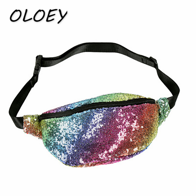 Women Colorful Mermaid Fanny Packs Female Rainbow Sequins Waist Bag Portable Out Door Leg Bum Hip Bags Coin Change Purse