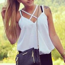 Fashion Summer White Women Girls Vest T-Shirt Sleeveless Casual Cross Simple Chiffon Pure Color