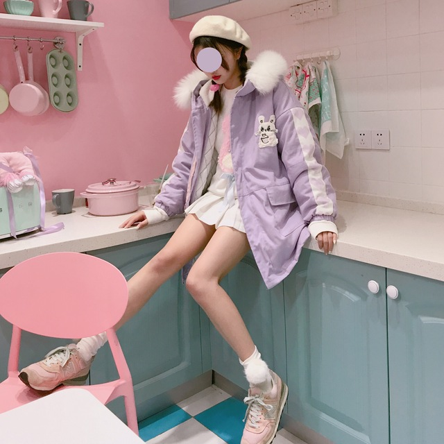 d77872d00e Kawaii Rabbit Bunny Sweet Pink   Lavendar Cute Women s Parka Coat Winter  Warm Lolita Hooded Outwear Jacket Fur Trim