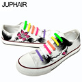 JUP Males Mens Girls Boys Apartments Casual Cartoon Canvas Lotus Leaf Hand-painted White Shoes Graffiti Lazy Shoelace Gift Footw