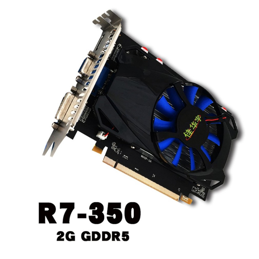 Professional R7-350 Gaming Video Graphics Card For Desktop 2G DDR5 128 Bit HDMI & VGA & DVI Port Support 4K Resolution original new desktop computer game graphics card for colorful gtx750 twin 1gd5 1024m ddr5 128bit dx11 vga dvi hdmi free shipping