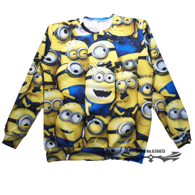 minions sweatshirt 3d print minions clothes womenmen pullover hoodie long shirt crewneck hoody plus