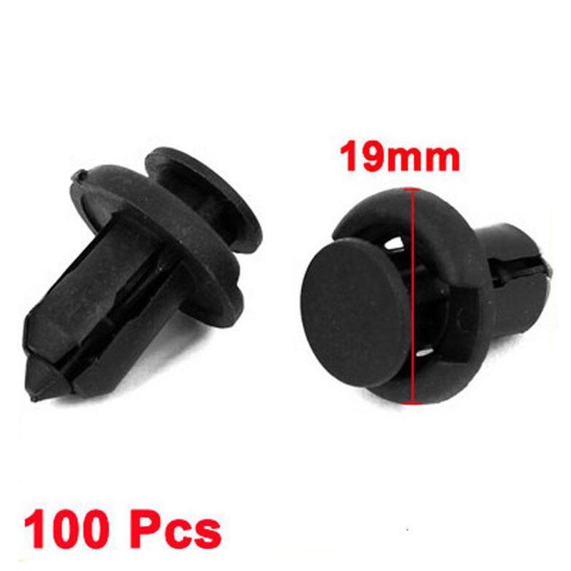 100 pz 10mm dia foro plastica nero rivetti fissaggio a scatto Auto in clip tipo