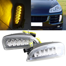 No error LED DRL For Porsche Cayenne I 957 9PA facelift 06-10 White DRL Yellow Turn Signal Fog Cover Daytime Running Lights Kits