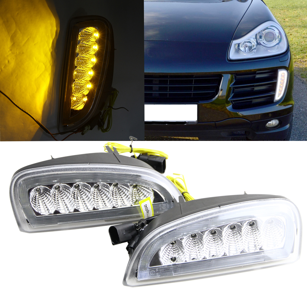 No error led drl for porsche cayenne i 957 9pa facelift 06 10 white drl yellow turn signal fog cover daytime running lights kits